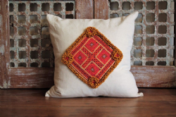 Cushion with vintage linen and antique Afghan textile - yellow beading